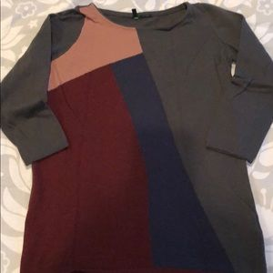 Benetton szM colorblock wool sweater w 3/4 sleeves